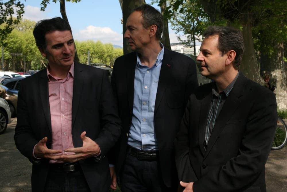 Eric Piolle, Pascal Clouaire et Vincent Fristot. © Florent Mathieu - Place Gre'net