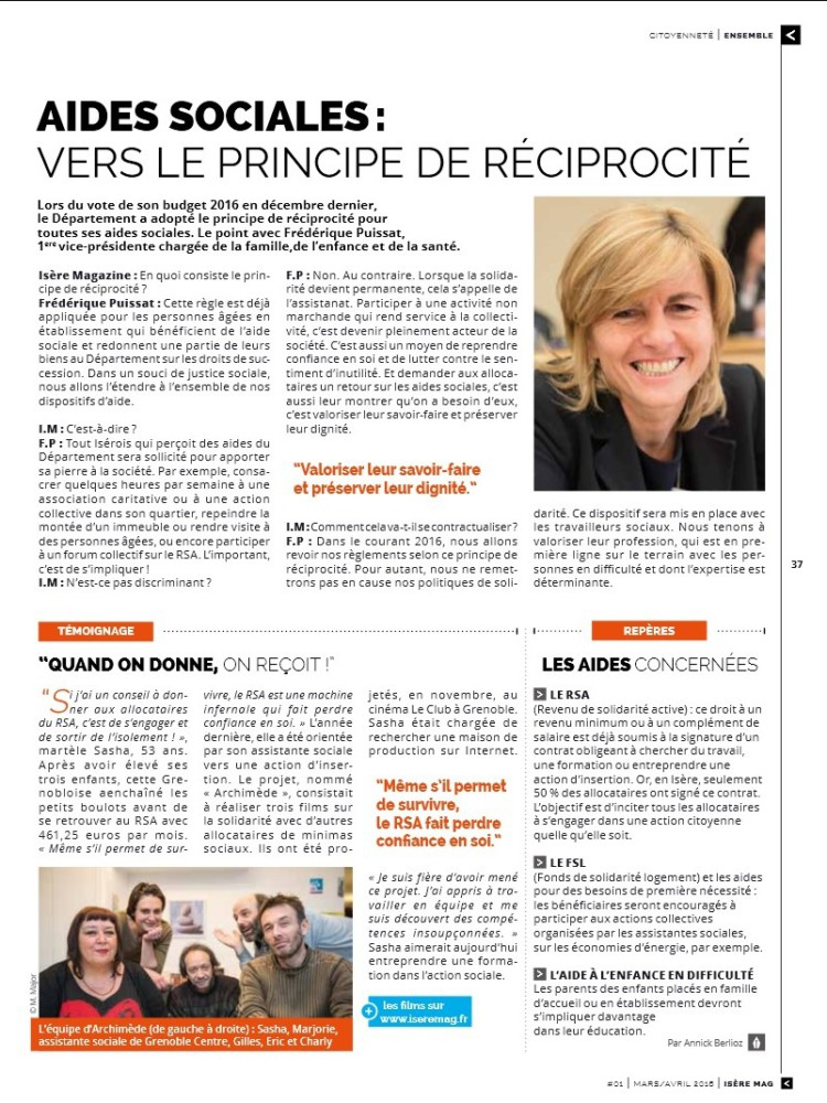 Pleine page en faveur de la réciprocité dans Isère Mag.