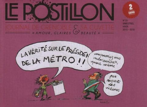 Une du journal satirique grenoblois Le Postillon attaqué en justice par Christophe Ferrari, président de Grenoble-Alpes Métropole et maire de Pont-de-Claix. DR