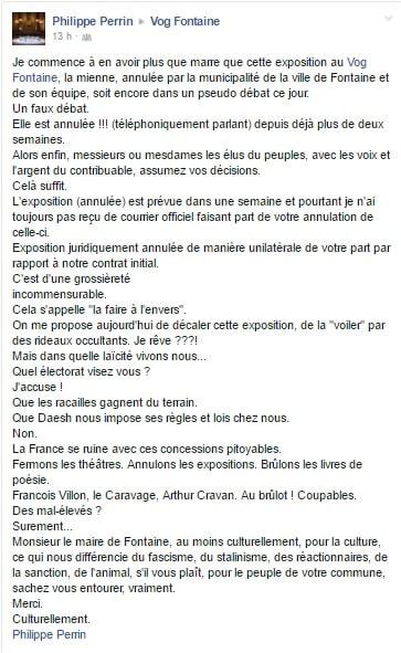 Message que l'artiste Philippe Perrin a posté sur le mur Facebook du Vog.