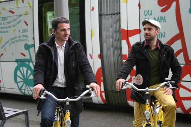 Éric Piolle et Éric Piolle, maire de Grenoble, et Yann Mongaburu, président du SMTC, promoteurs zélés de la pratique du vélo © Joël Kermabon - Place Gre'netMongaburu lors de la présentation de « Faites du vélo ». © Joël Kermabon - Place Gre'net