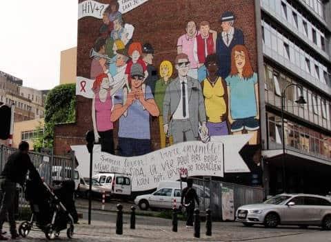 Mur sida fresque street art VIH