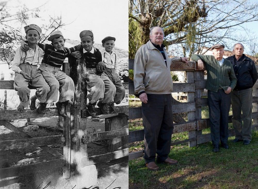 1947 - 2012 : Luis Alfonso Linck, Joãno Carlos Haas Sobrinhio, Roberto Luis Haas et Delmar Antonio Linck. 55 ans plus tard, Joãno Carlos manque à l'appel. DR