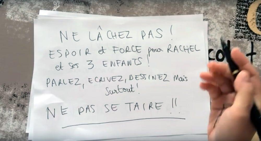 Message de soutien à destination de Rachel. DR