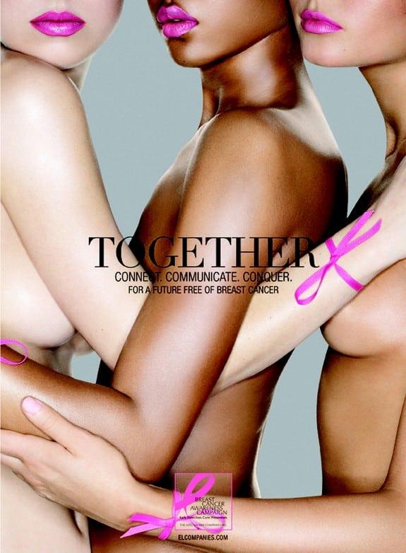 Affiche réalisée par Estée Lauder contre le cancer du sein. À l'exception du ruban rose, on retrouve tous les codes de ce que l'on appelle le « porno chic ». DR