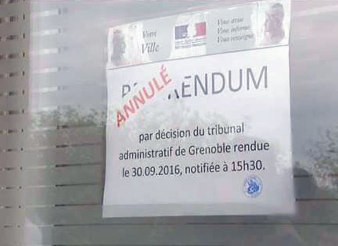 Référendum d'Allex sur l'accueil des migrants annulé par le tribunal administratif de Grenoble le 30 septembre 2016. DR