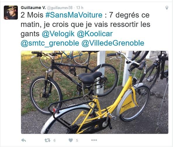 Sur Twitter, Guillaume narre son aventure de nouveau cycliste en ville. DR