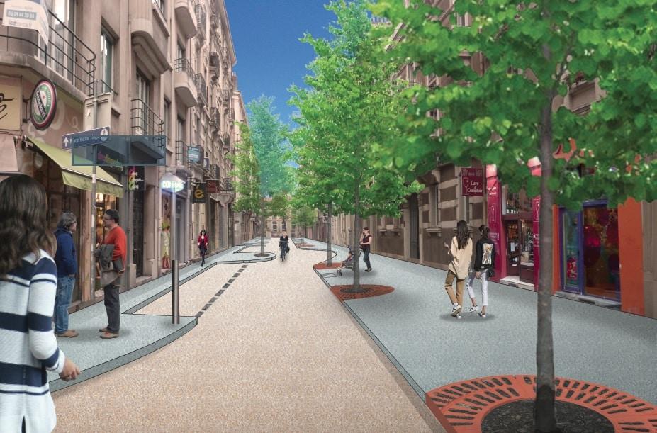 La rue Lakanal, plus de trottoir, moins de voitures, sans pour autant passer au tout-piéton. © DR