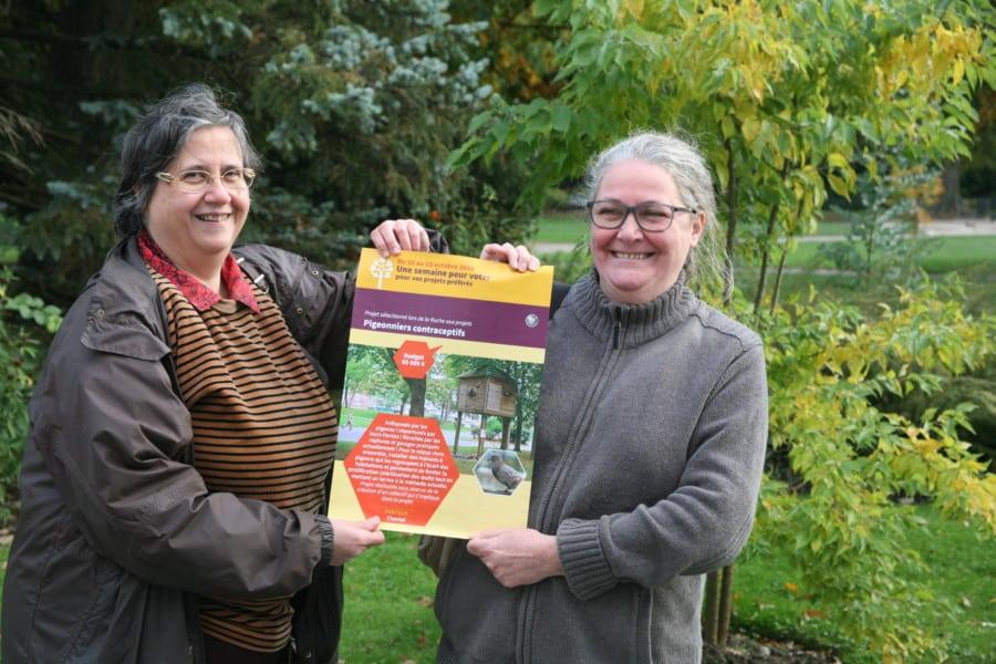 Pari réussi pour Chantal Grivel et Catherine Carrier : les pigeonniers contraceptifs verront le jour à Grenoble © Florent Mathieu - Place Gre'net