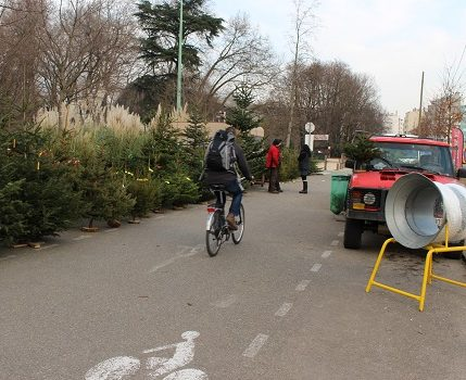 Un vélo passe à proximité du marché aux sapins du boulevard Clemenceau à Grenoble. © Corentin Libert - Place Gre'net