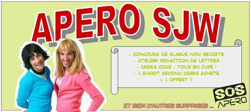 La soirée « tous en jupe » avec concours de rédaction de lettres de plainte organisée à SOS Apéro le 15 décembre. DR