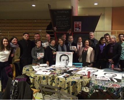 Les soutiens associatifs et politiques à Benoît Hamon. © Joël Kermabon - Place Gre'net