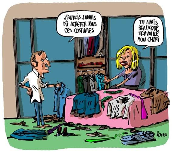 Macron vu par Lara. Dessin exposé à La Frise, 150 Cours Berriat.