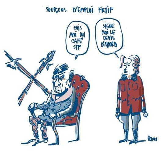François et Pénélope Fillon. Dessin de Lara paru le 29 janvier 2017 sur le site de L'Obs.