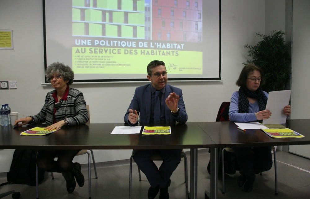 Christine Garnier, Christophe Ferrari et Françoise Cloteau durant la présentation du Programme Local pour l'Habitat 2017-2022 de la Métro. © Florent Mathieu - Place Gre'net