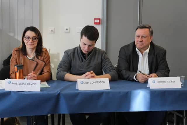 De gauche à droite : Anne-Sophie Olmos, Alan Confesson et Bernard Macret