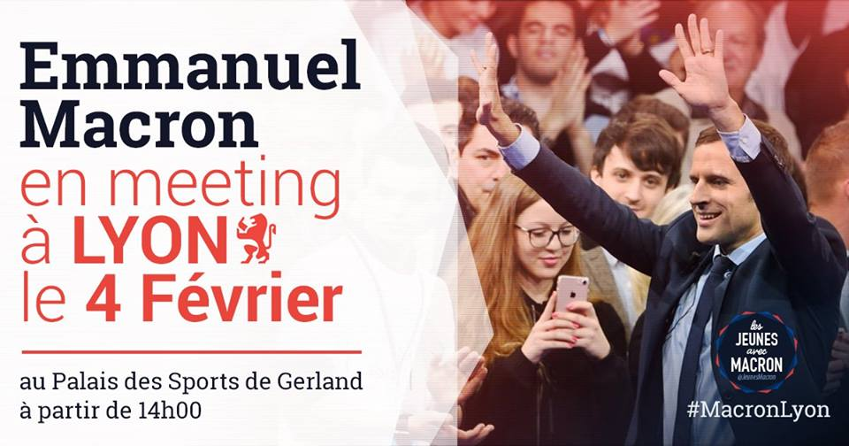 L'affiche du meeting, issue du compte Facebook des Jeunes avec Macron.