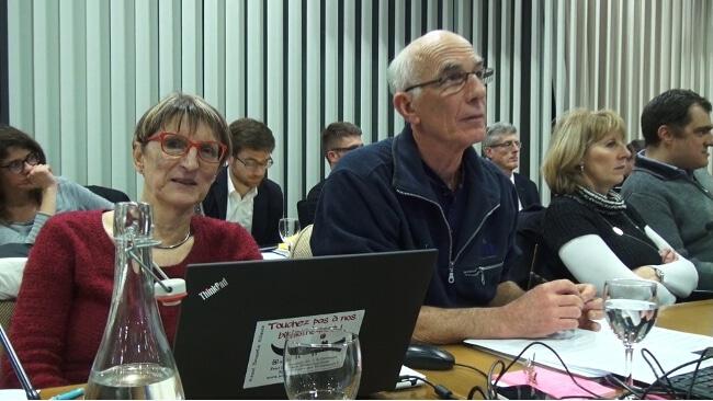 Bernadette Richard-Finot et Guy Tuscher, du groupe municipal grenoblois Ensemble à gauche, ont dénoncé les insuffisances du dispositif hivernal de la Préfecture. © Joël Kermabon - Place Gre'net