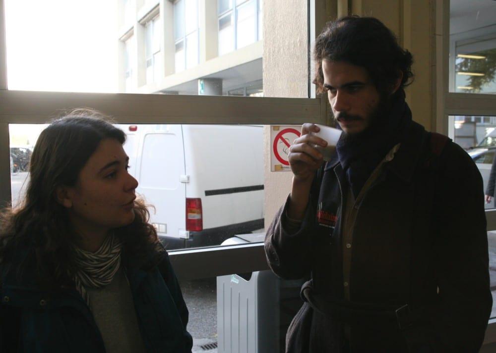 Mégane Mignot et Jean-Loup de Saint Phalle, de Solidaires Étudiant-e-s. © Florent Mathieu - Place Gre'net