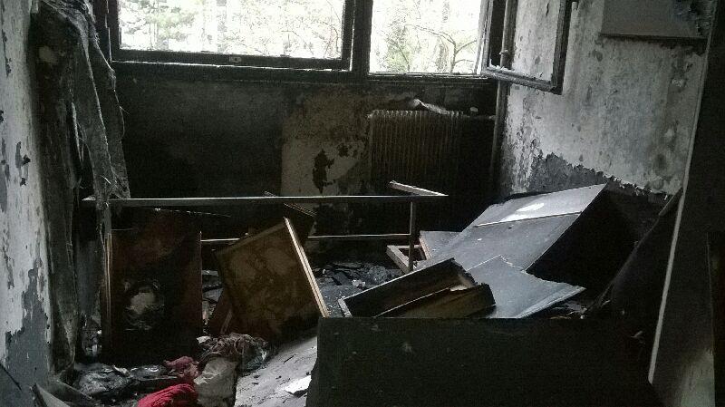 L'un des appartements de la résidence Condillac dévasté par les flammes. - Photographie fournie par un résident.