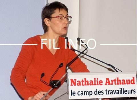 Nathalie Arthaud en conférence à Grenoble. Photo © Domaine public