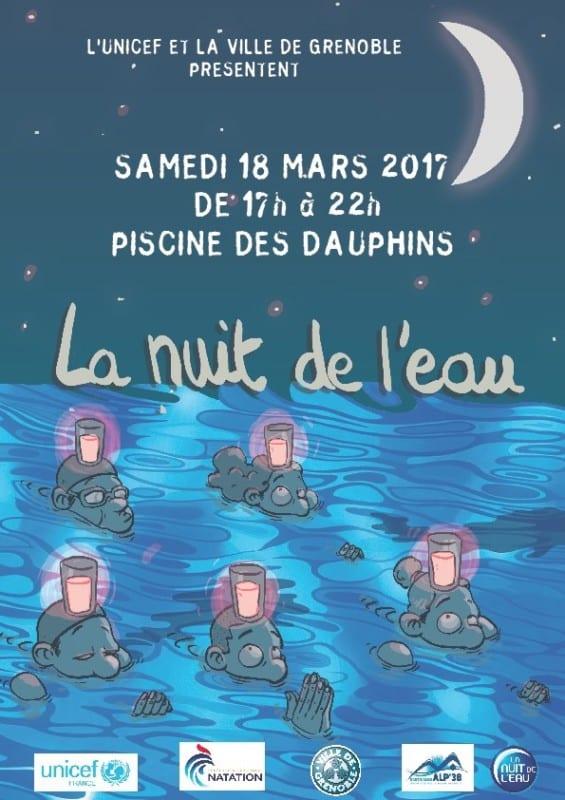 L'affiche de la Nuit de l'eau Piscine des Dauphins, le 18 mars. DR