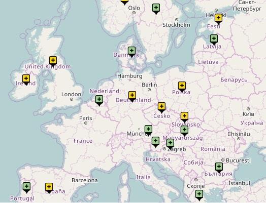 Carte des pays ayant interdit totalement la présence d'animaux sauvages dans les cirques (en vert) ou partiellement (en jaune), que ce soit sous la forme d'arrêtés locaux ou de textes nationaux légiférant sur certaines pratiques. © Cirques de France
