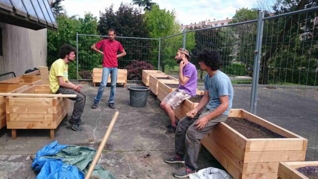 Bac de permaculture à Seyssinet. À droite, Lucas Courgeon. Photo © Cultivons nos toits