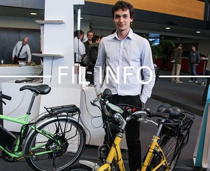 Mael Bosson de la société eBikeLabs. La jeune pousse annonce le lancement d'une campagne de financement participatif à l'occasion de la Faites du vélo électrique ce 8 avril à Corenc.