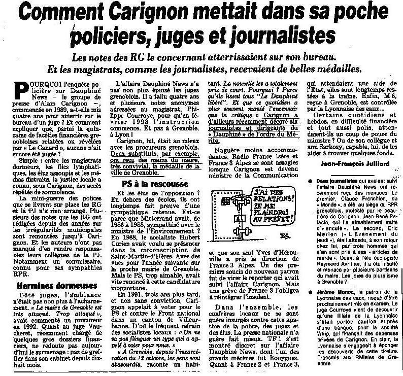 Quand le canard parlait d'Alain Carignon, ici en octobre 1994. DR