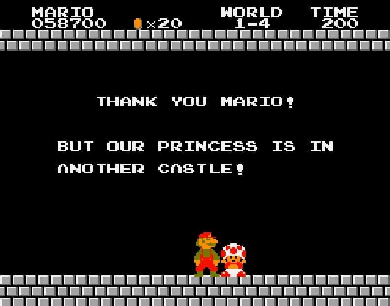 « La princesse est dans un autre château ». Mario, plombier macho en quête de la Demoiselle en détresse ? DR