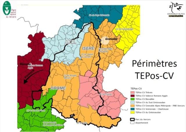 Carte du Territoire à énergie positive pour la croissance verte de la région Rhône-Alpes. © PNR Vercors