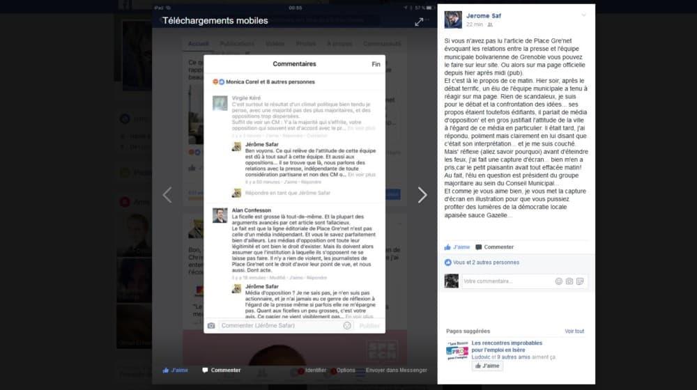 """Le commentaire d'Alan Confesson qualifiant Place Gre'net de """"média d'opposition"""" sur le compte Facebook de Jérôme Safar, auteur de la capture d'écran, avant sa dépublication par l'élu de la majorité."""