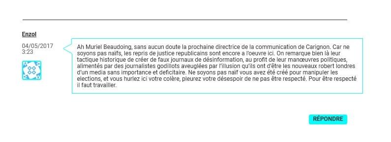 Le commentaire du fameux Enzol, derrière lequel Grenoble le changement croit identifier Enzo Lesourt.