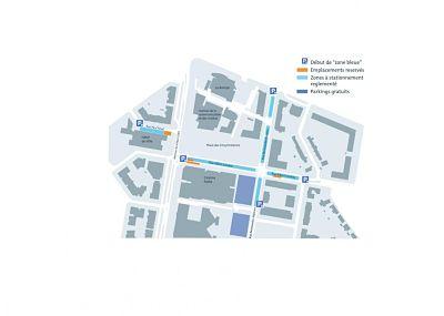 En septembre, le stationnement gratuit et à durée limitée en zone bleue fera son entrée à Échirolles pour faciliter l'accès aux commerces du centre-ville.