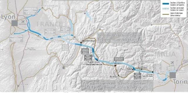 Le tracé de la nouvelle ligne ferroviaire Lyon-Turin.
