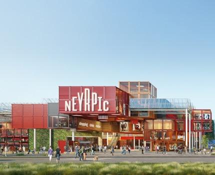 UNE Futur projet de centre commercial Neyrpic sur Saint-Martin-d'Hères, version 2 © Apsys