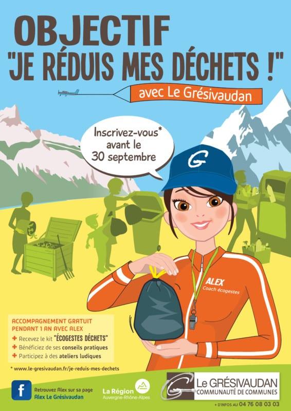 Le Grésivaudan lance un appel aux volontaires pour participer à son programme de sensibilisation « Je réduis mes déchets avec Le Grésivaudan ».Affiche « Je réduis mes déchets ». DR