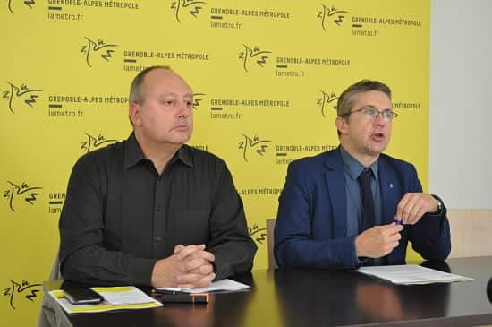 Christophe Mayoussier et Christophe Ferrari lors du lancement de la tarification sociale de l'eau © Giovanna Crippa - Place Gre'net