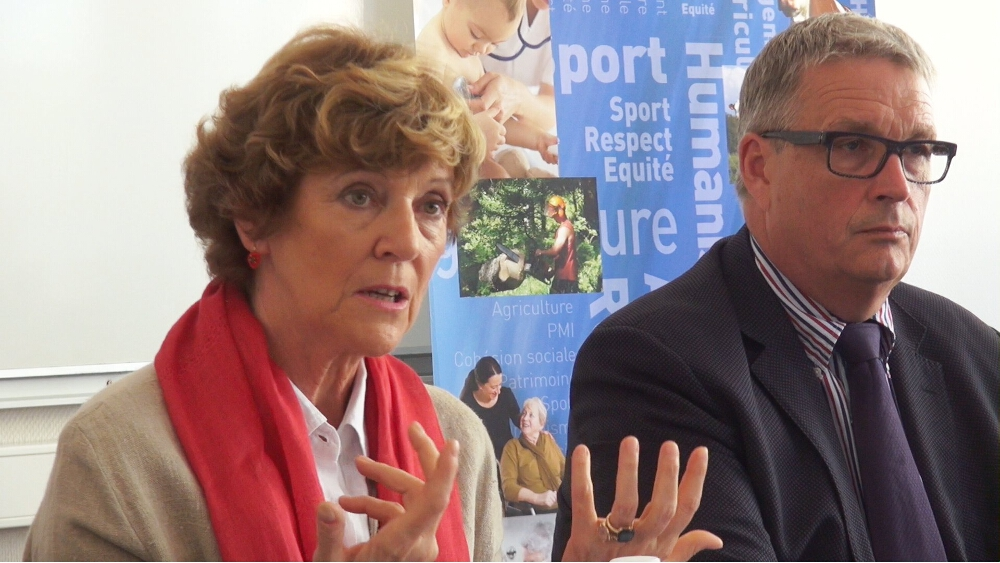 Claudine Schmidt-Lainé , ancien recteur de l'académie de Grenoble, et Jean-Pierre Barbier, président du Conseil départemental de l'Isère. © Joël Kermabon - Place Gre'net
