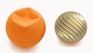Balle de ping-pong poquée versus sphère réduite non poquée. © Projet Hévéa