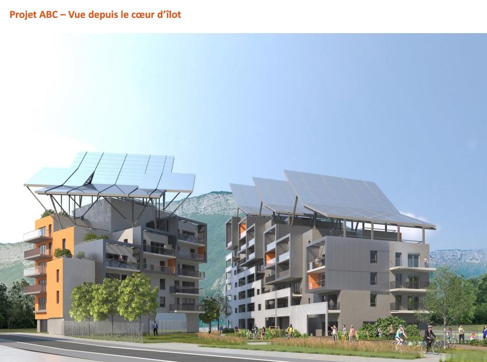 Perspective du projet ABC construit par Linkcity, filiale de Bouygues Construction, sur l'écocité Presqu'île à Grenoble. DR