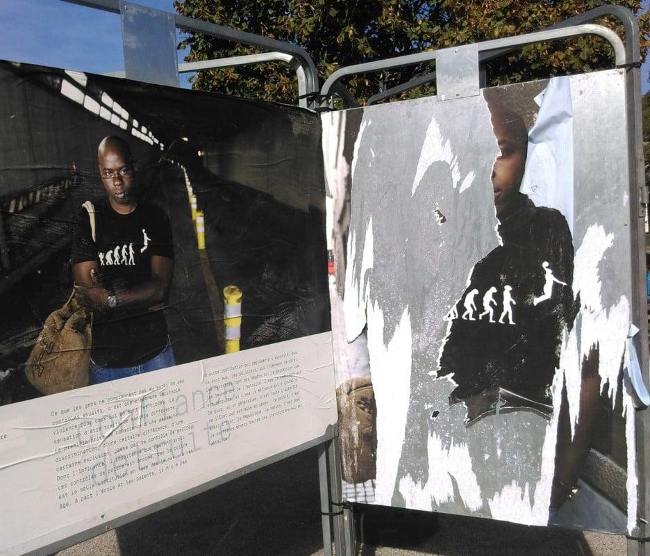 Plusieurs affiches ont été partiellement arrachées. © Florent Mathieu - Place Gre'net