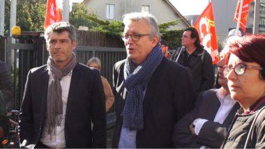 De gauche à droite : Guillaume Gontard, sénateur de l'Isère, Pierre Laurent, secrétaire national du PCF et Annie David (PCF). © Joël Kermabon - Place Gre'net