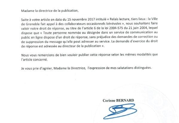 Introduction du droit de réponse, daté du 17 novembre 2017, adressé par Corinne Bernard à la directrice de publication de Place Gre'net. (Document PDF créé le 20 novembre à 16 h 24 d'après les métadonnées de celui-ci et envoyé par mail à la directrice de publication le 20 novembre à 17 h 23.)