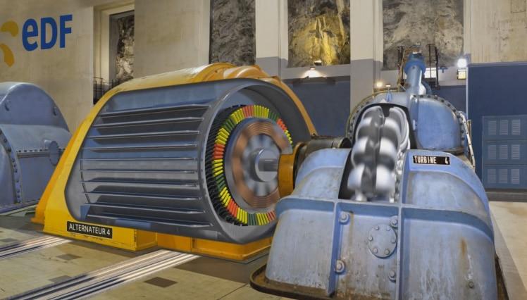 Expo au musée EDF Hydrélec pour observer L'Eau du haut. Transformation de l'énergie hydraulique en électricité. Centrale hydroélectrique. Site EDF