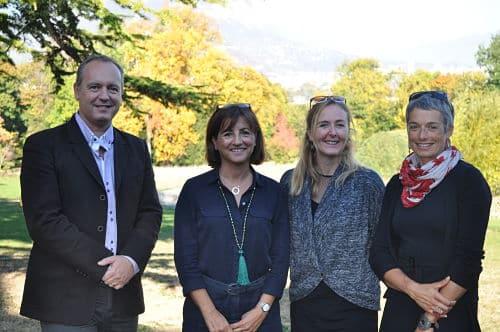 De gauche à droite : Frédéric Battin, Délia Moroté, Noémie Duez et Sophie Latapie, directrice culturelle de Seyssins © Giovanna Crippa - Place Gre'net