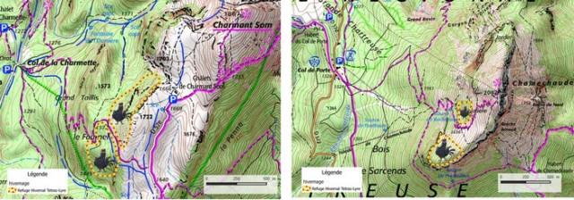 Après concertation, le Parc de Chartreuse et les acteurs locaux ont définis des zones de quiétudes pour les tétras-lyre. ©Parc Naturel de Chartreuse.