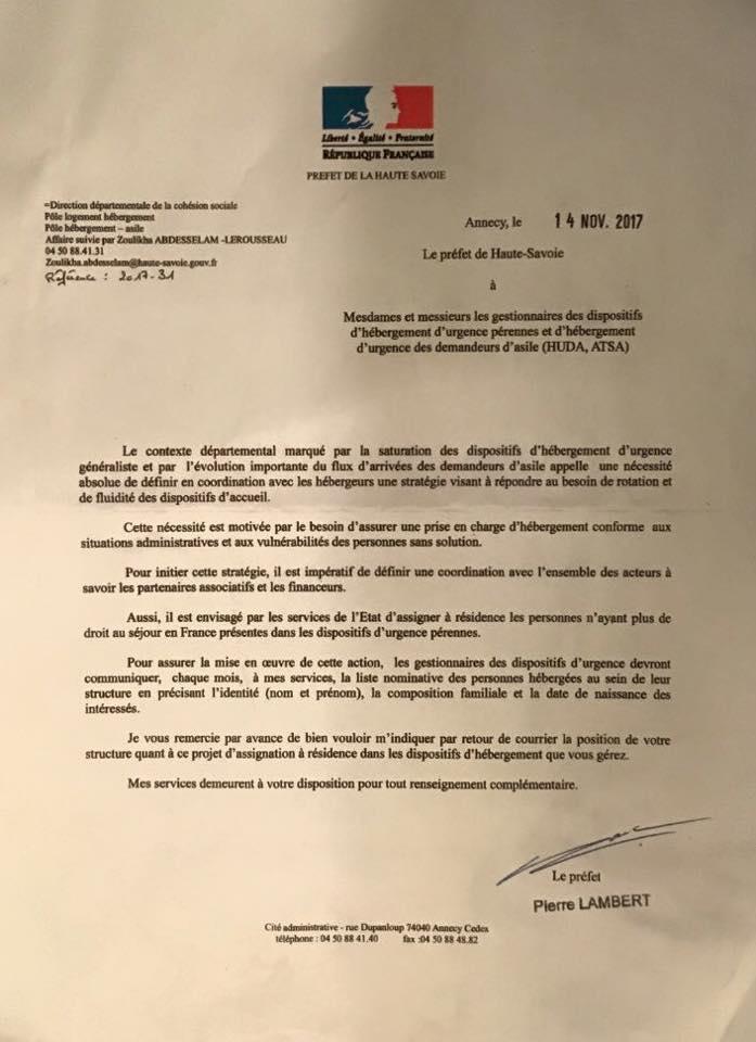 Le courrier du préfet de Haute-Savoie demandant aux associations d'adresser une liste mensuelle des personnes hébergées circule sur les réseaux sociaux.