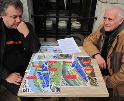 """""""L'équipe d'Eric Piolle n'a pas pas tenu tous ses engagements concernant le réaménagement du quartier de l'Esplanade"""". Tel est l'amer constat établi par l'association""""Vivre à Grenoble"""" le 14 décembre 2017. © Séverine Cattiaux - Place Gre'net"""